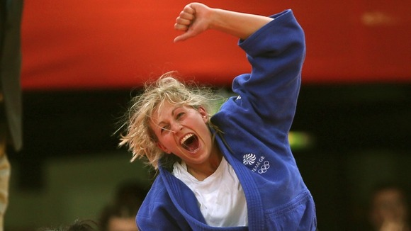 Gemma Gibbons celebrates winning her silver medal for the Women's 78kg Judo at London 2012.