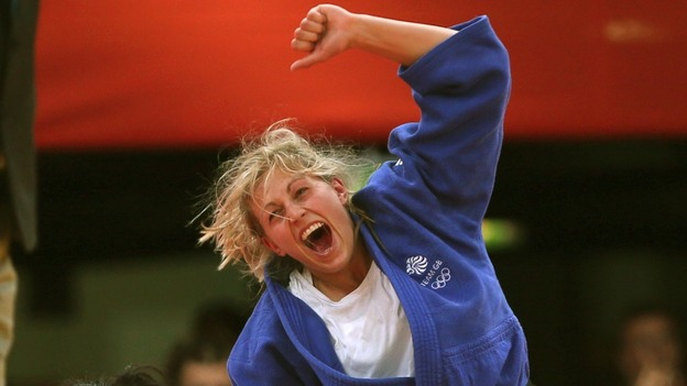 Gemma Gibbons celebrates winning her silver medal for the Women&#x27;s 78kg Judo at London 2012.