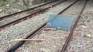 Metal grid near the tunnels