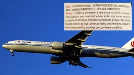 Air China warns visitors to avoid Indian, Pakistani and black areas