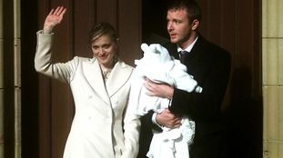 Madonna and Guy Ritchie with there then son four-month-old Rocco.