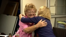 Sarah Ferguson is hugged by a supporter