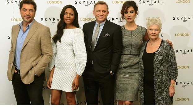 Javier Bardem, Naomie Harris, Daniel Craig, Berenice Malohe and Dame Judi Dench at a photocall for new James Bond film Skyfall.