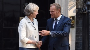 Theresa May and Donald Tusk met at Downing Street.