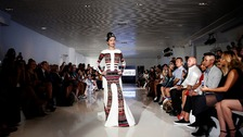 Reshma Qureshi on the catwalk during New York fashion week.