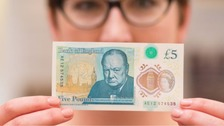 The new £5 note, part of which will be produced at Wigton, Cumbria.
