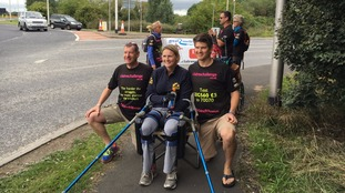 Claire Lomas at the halfway point