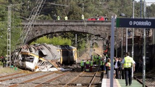 The train crashed just outside the station.