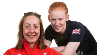 GB Paralympics Cycling team member Sophie Thornhill (right) and pilot Helen Scott (left)