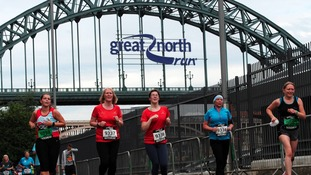 Runners take part in the Great North 5k .