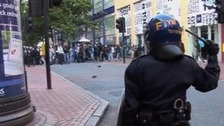 Riots and disorder on New Street in Birmingham last August