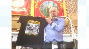 Jeremy Corbyn at NUM offices in Barnsley