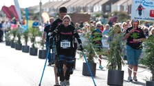 Claire Lomas approaches finishing line