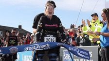 Claire Lomas walked three-miles a day in a 'bionic suit' to cross the finish line