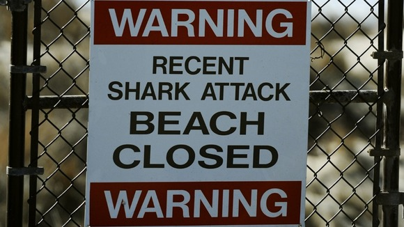 Sign posted near the beach where a shark attack took place