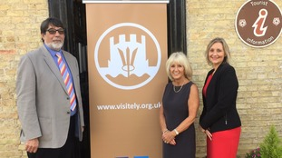 Cllr Richard Hobbs, Cllr Lis Every and Tracey Harding at the launch of the new Ely website.