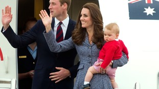 Duke and Duchess of Cambridge and Prince George departing Canberra during the eighteenth day of their official tour to New Zealand and Australia