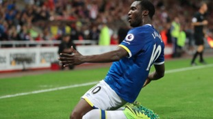 Everton's Romelu Lukaku celebrates scoring his third goal during the Premier League match at the Stadium of Light.