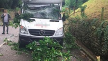 Three men miraculously escaped unscathed in the incident