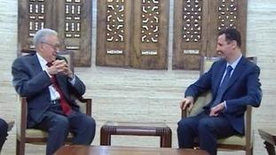 UN mediator Lakhdar Brahimi with Syria's President Assad.