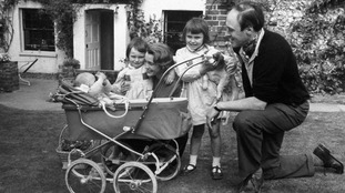 Roald Dahl, with his wife Patricia Neal, and children Olivia, Tessa, and Theo.