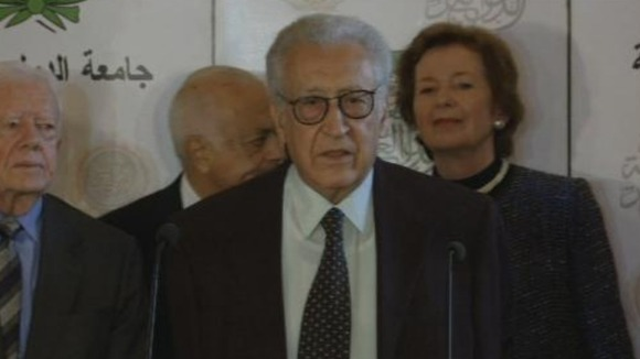 The United Nations-Arab League envoy to Syria, with members of his delegation in Cairo