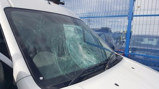 A Ford Transit had it windscreen shattered on Monday morning.