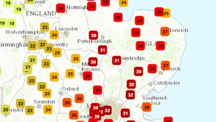 Temperatures around the Anglia region at 3pm on Tuesday 13 September 2016.