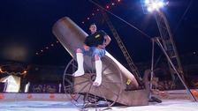 Human cannonball Shane Beare broke both his ankles when a stunt went wrong.