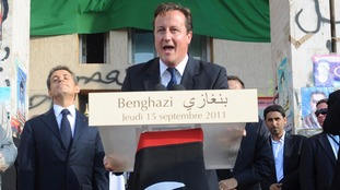 David Cameron addresses crowds in Benghazi, Libya, in 2011.