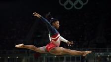 Simone Biles competes at Rio 2016.