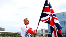 Paralympic's GB flag bearer Lee Pearson from Staffordshire, takes his Paralympics bow in the dressage.