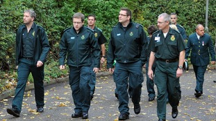 Paramedics arrive at the Harlow Islamic Centre, for the funeral