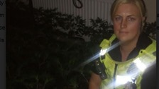 CSO Beverley Sellars and some of the cannabis plants