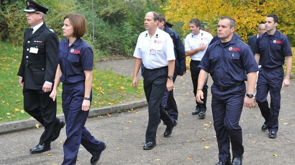 Members of Essex County Fire &amp; Rescue Service (ECFRS) arrive at the Harlow Islamic Centre, for the funeral