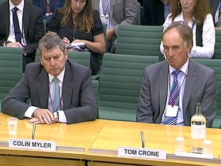 Colin Myler (left) and Tom Crone (right) gave evidence about phone-hackin