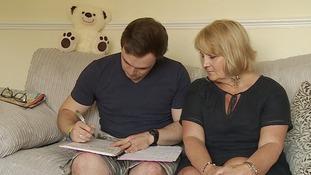 Ellis Stuart looks after his mum Debbie.