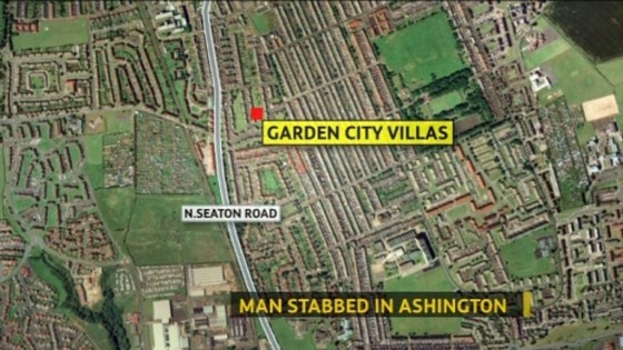 The man was found with a stab-wound in Ashington early this morning