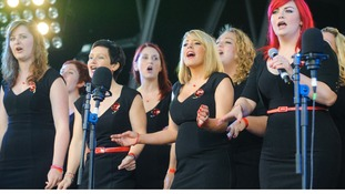 The Military Wives Choir perform at the launch of the Royal British Legion Poppy Appeal 2012, in Trafalgar Square