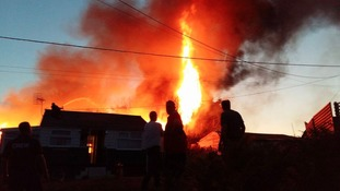 The fire at Hemsby that was tackled by firefighters from across Norfolk