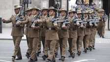 Gurkhas parade in Whitehall.
