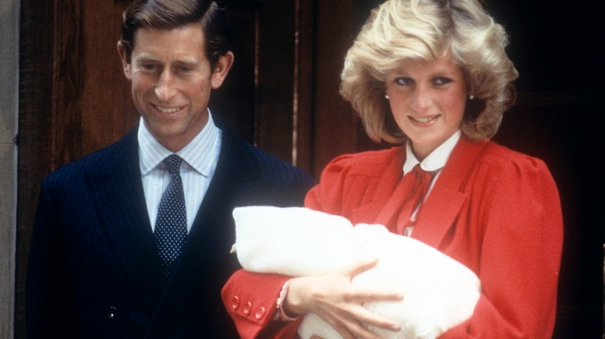 The Prince and Princess of Wales following the birth of Prince Harry