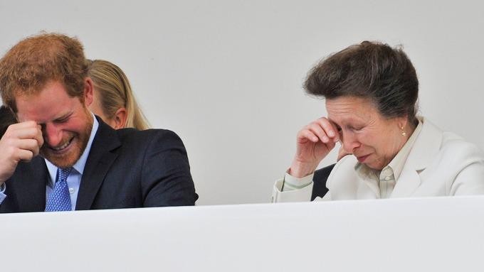 Prince Harry and his aunt Princess Royal share a joke.