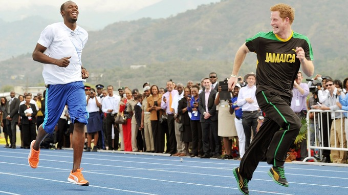 Harry took on the world's fastest man Usain Bolt during a trip to Jamaica