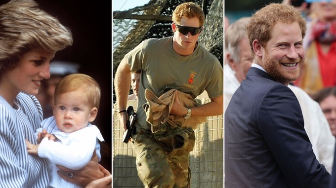 Prince Harry is pictured over the last three decades.