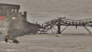 Part of Birnbeck Pier collapsed into the Bristol channel after last year's storm damage