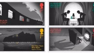 The stamps represent different Agatha Christie novels