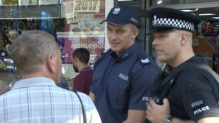 One of the Polish police officer's out on patrol in Harlow