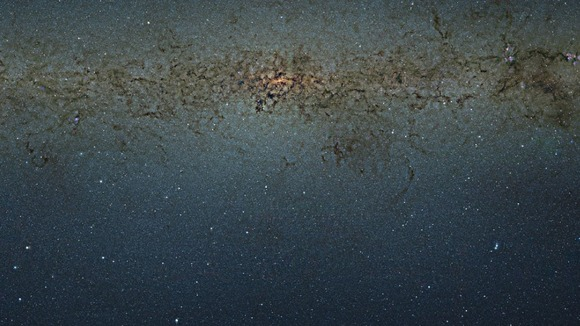 A nine billion pixel photograph of the Milky Way captured by the VISTA survey telescope at ESO's Paranal Observatory in Chile.