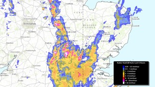 Rainfall radar image taken at 7.25am on Friday showing heavy rain in the south and west of the Anglia region.